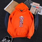 KAWS Men Women Hoodie Sweatshirt Holding Doll Cartoon Thicken Autumn Winter Loose Pullover Orange_L