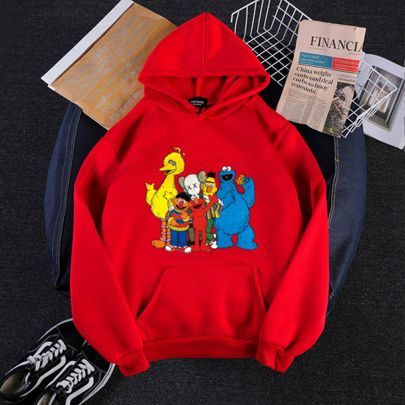KAWS Men Women Sweatshirt Cartoon Animals Thicken Autumn Winter Loose Hoodie Pullover Red_XXXL
