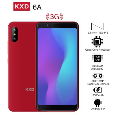 KXD 6A 8GB+1GB Cell Phone Red