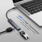 KawBrown 4 Ports Type C HUB USB-C to USB 2.0 Splitter Converter OTG Adapter Cable for Macbook Pro gray