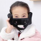 Kid 2-in-1 Warm Mask Earmuffs Cartoon Autumn Winter Thicken Plush Riding Outdoor Wear Black_One size