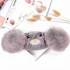 Kid 2-in-1 Warm Mask Earmuffs Cartoon Bear Winter Thicken Plush Riding Outdoor Wear Gray