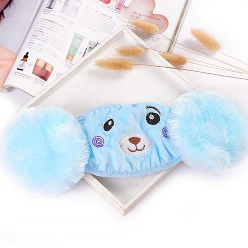 Kid 2-in-1 Warm Mask Earmuffs Cartoon Bear Winter Thicken Plush Riding Outdoor Wear Blue