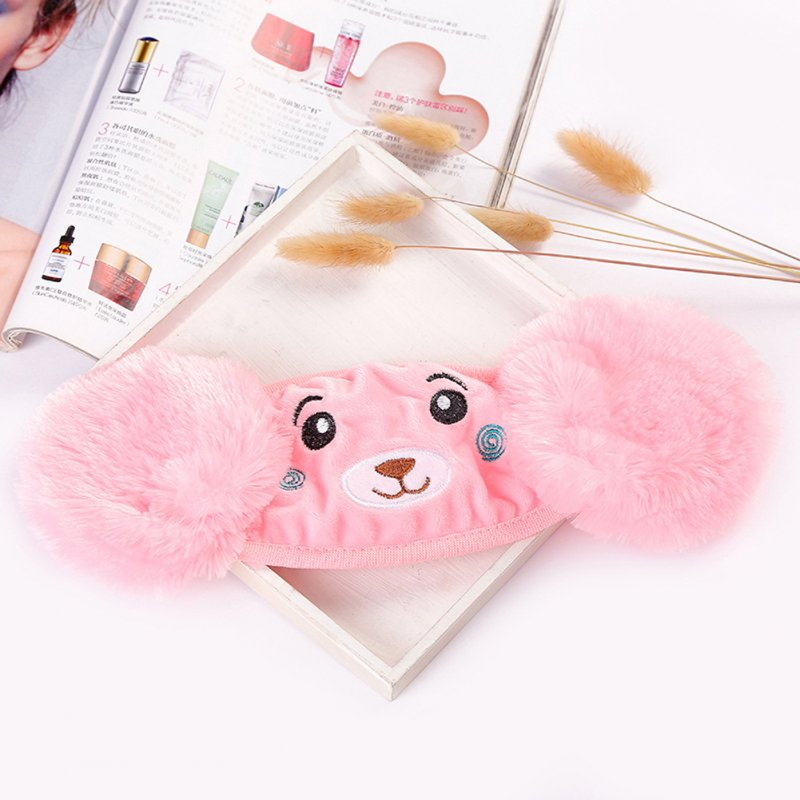 Kid 2-in-1 Warm Mask Earmuffs Cartoon Bear Winter Thicken Plush Riding Outdoor Wear Pink