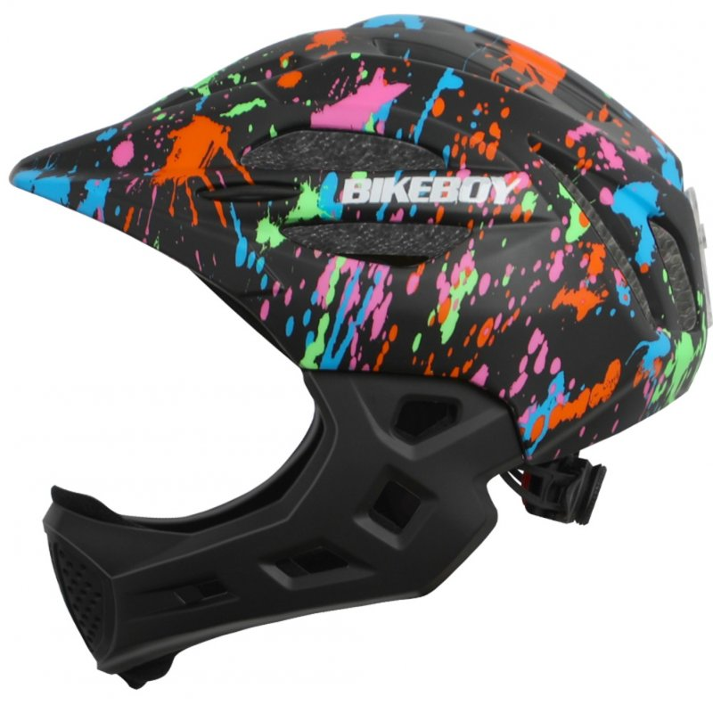 Kid Helmet Mountain Mtb Road Bicycle Detachable Protection Children Full Face Bike Cycling Helmet  Graffiti black_One size