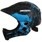 Kid Helmet Mountain Mtb Road Bicycle Detachable Protection Children Full Face Bike Cycling Helmet  Graffiti black and blue_One size