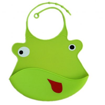 Kid Infant Baby Bibs Soft Silicone Waterproof Large Size Dripping Bibs Green frog