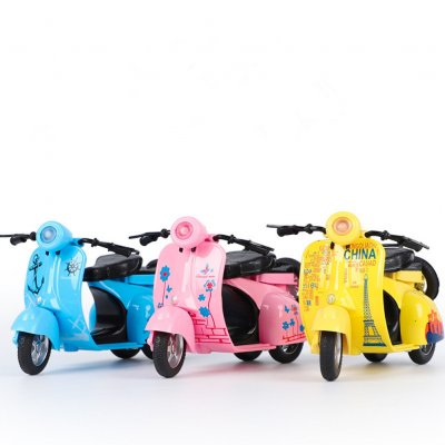 Kids 1:14 Mini Alloy Pull Back Motorbike Modeling Music Light Toy Random Color