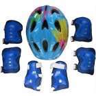 Kids Adjustable Bike Helmet Protect Set with Knee Elbow Wrist Guard for Cycling Biking Skateboard  Blue printing_Children