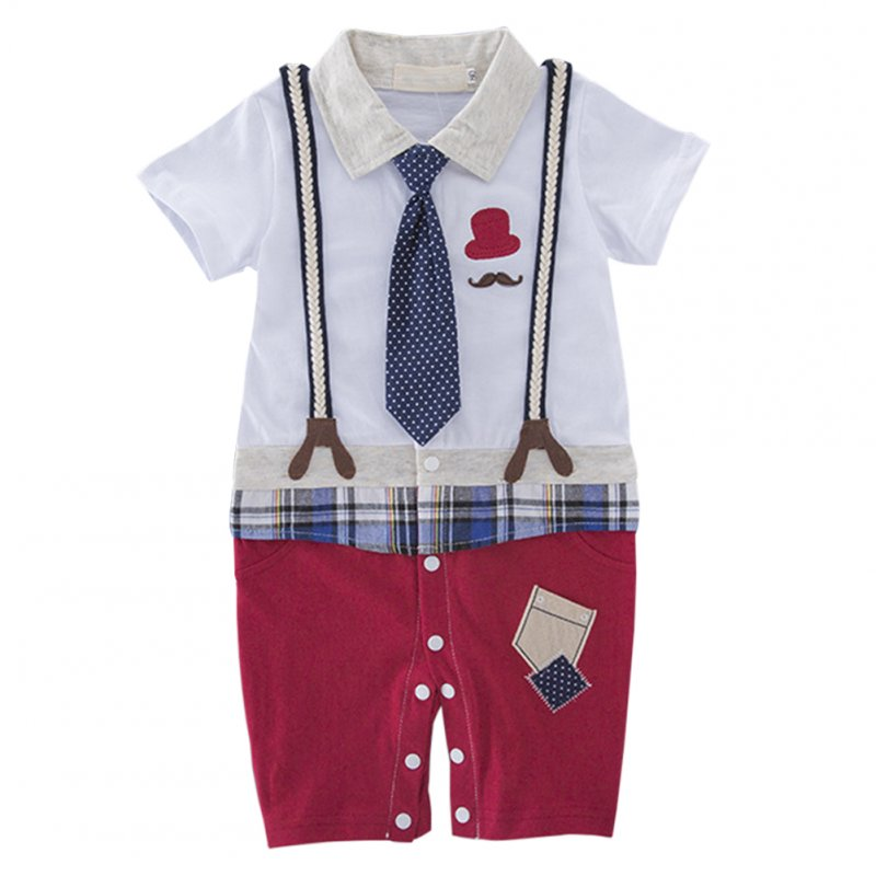 Kids Baby Boys Short Sleeve Strap Necktie Gentleman Jumpsuit Red pants_80(3-6 months)