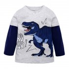 Kids Boys Cartoon Dinosaur Pattern Printing Cotton Long Sleeve T shirt blue dinosaur 4