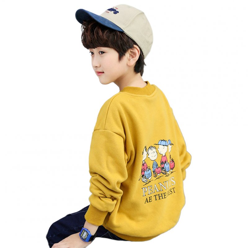 Kids Boys Fashion Loose Printing Long Sleeve Fleece Sweatshirts Coat yellow_150cm