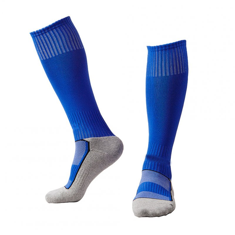 Kids Boys Girls Contrst Color Breathable Long Socks for Outdoor Sport Football Soccer Match blue_free size