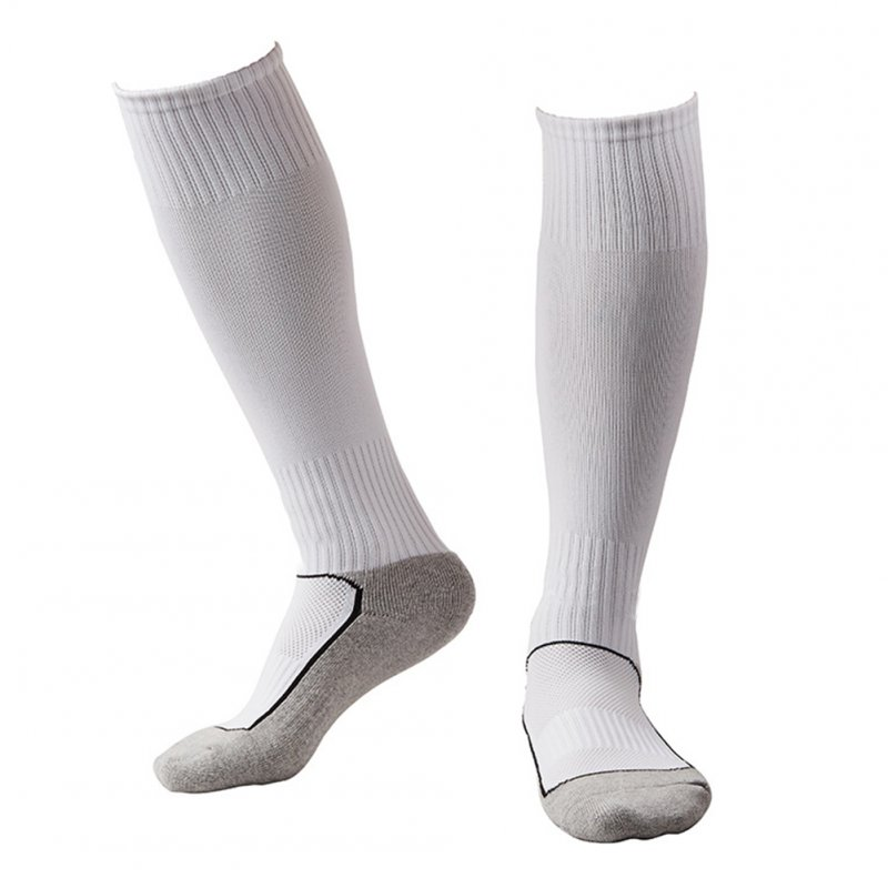 Kids Boys Girls Contrst Color Breathable Long Socks for Outdoor Sport Football Soccer Match white_free size