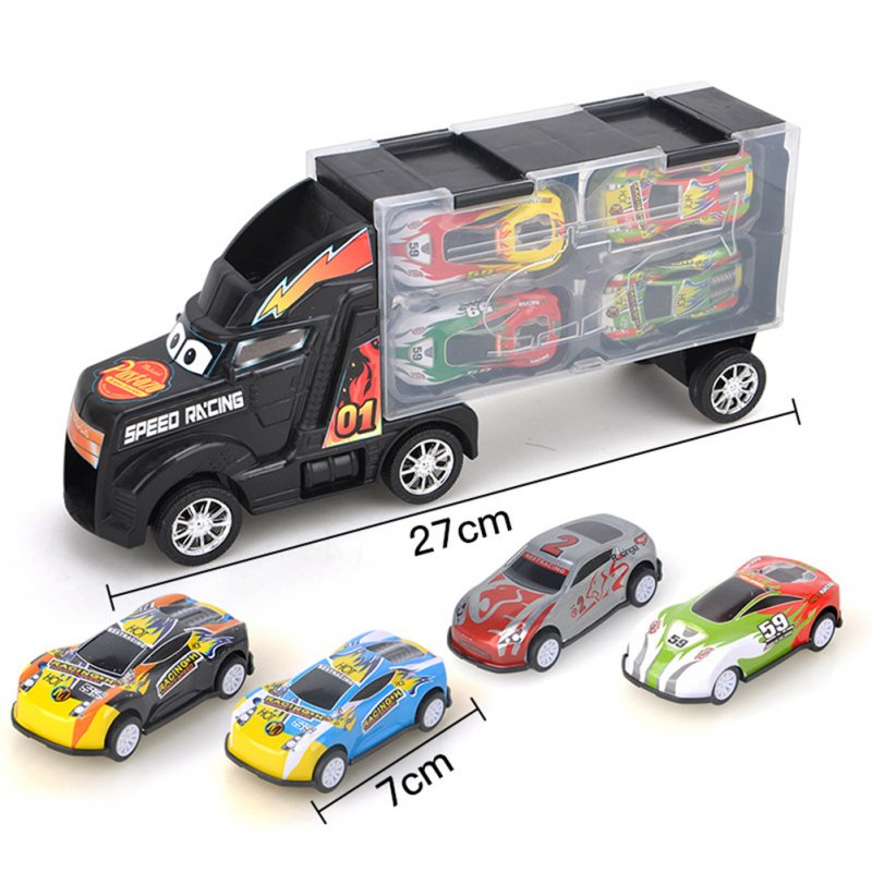 Kids Boys Simulate Container Car with 4 Pull Back Metal Cars Toy Set black