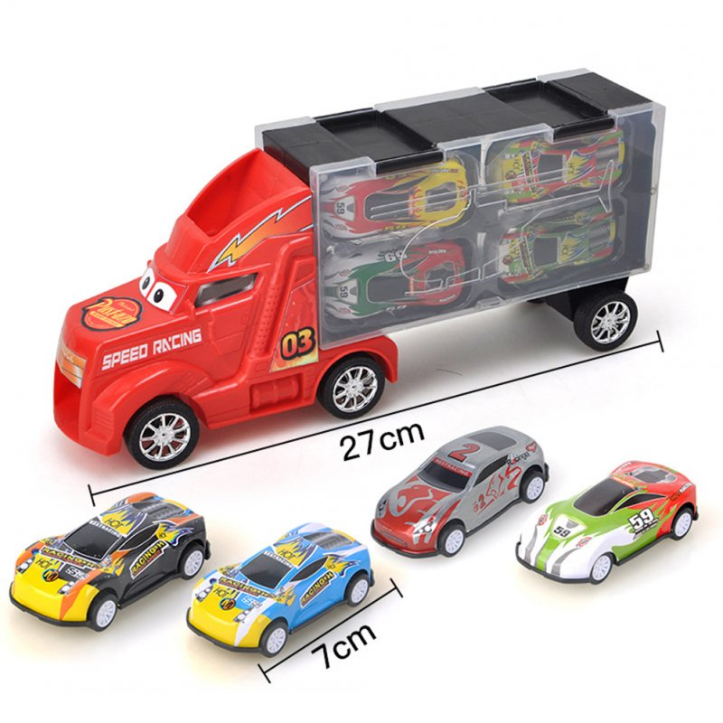 Kids Boys Simulate Container Car with 4 Pull Back Metal Cars Toy Set red
