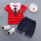 Kids Boys Stripe Printing Tie Short Sleeve T Shirt Shorts Set BBE chicken heart red 90cm
