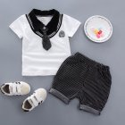 Kids Boys Stripe Printing Tie Short Sleeve T Shirt+Shorts Set BBE chicken collar white_80cm