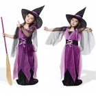 Kids Children Girls Halloween Witch Dress Carnival Cosplay Costume Purple mesh witch_100cm