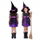 Kids Children Girls Halloween Witch Dress Carnival Cosplay Costume Purple witch_100cm