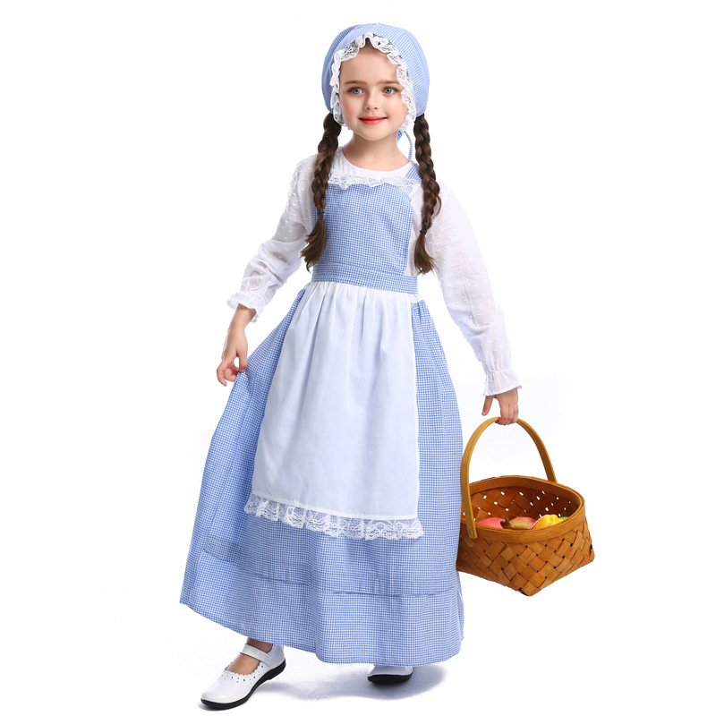 Kids Girl Long Dress Costume Pastoral Style Jacquard Halloween Cosplay Dress  blue_S