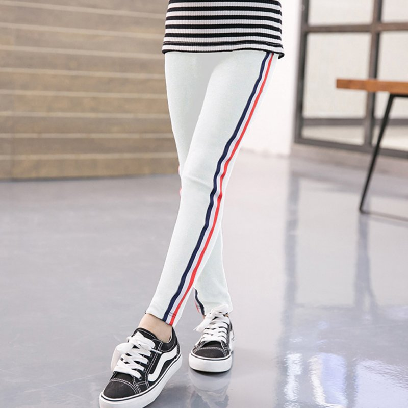 Kids Girl Pants Pure Cotton Fashion Sports Leggings for Girls Solid Color Pencil Pants white_160 yards (suitable for height 150-160cm)