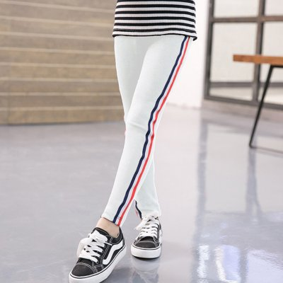 Kids Girl Pants Pure Cotton Fashion Sports Leggings for Girls Solid Color Pencil Pants white_140 yards (suitable for height 130-140cm)
