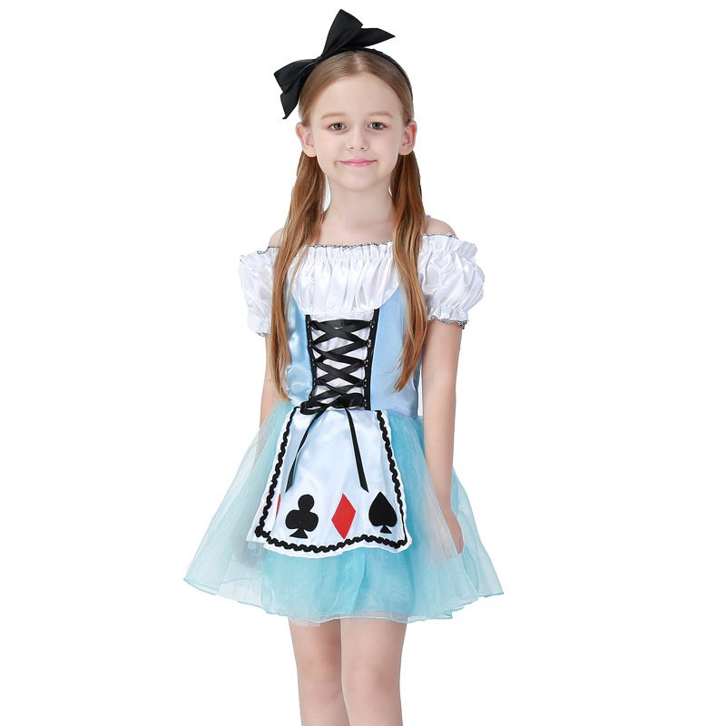 Kids Girl Sweet Short Dress Maid Cosplay Costume for Beer Festival Stage  blue_M