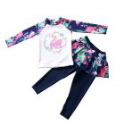 Kids Girls Cartoon Printing Quick Dry Long Sleeve Top Pants Muslim Swimwear Set Navy blue_L