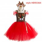 Kids Girls Christmas Cartoon Elk Dress Fluffy Skirt + Headdress Set HD93364