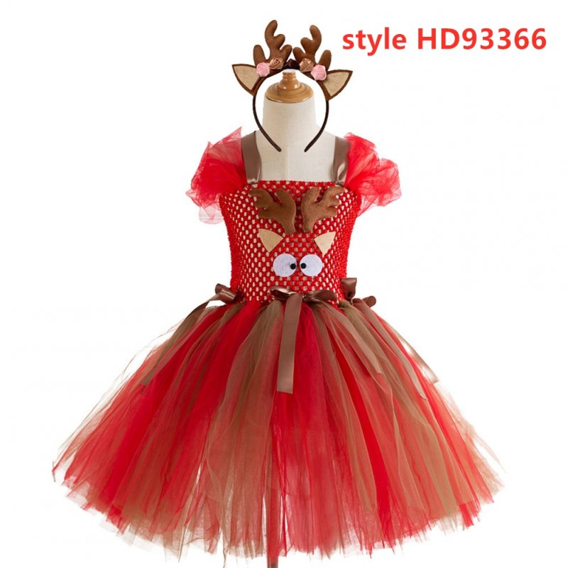 Kids Girls Christmas Cartoon Elk Dress Fluffy Skirt + Headdress Set HD93366