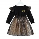 Kids Girls Dress Knitted Long Sleeve/Sleeveless Puffy Mesh Princess Dress Long sleeve_110cm