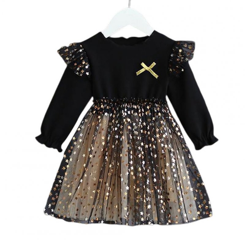 Kids Girls Dress Knitted Long Sleeve/Sleeveless Puffy Mesh Princess Dress Long sleeve_130cm