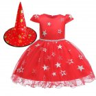 Kids Girls Halloween Witch Hat Star Princess Dress Set for Party Wear red_110cm
