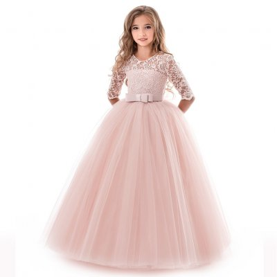 Kids Girls Long Sleeve Lace Formal Princess Dress For Wedding Party Wear Pink 120