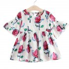 Kids Girls Mandarin Sleeve Floral Printing Beach Dress