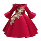 Kids Girls Princess Dress Middle Sleeve Embroidery Full Dress for Christmas New Year Party Wedding red_150