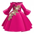 Kids Girls Princess Dress Middle Sleeve Embroidery Full Dress for Christmas New Year Party Wedding Rose 140