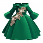 Kids Girls Princess Dress Middle Sleeve Embroidery Full Dress for Christmas New Year Party Wedding green_130