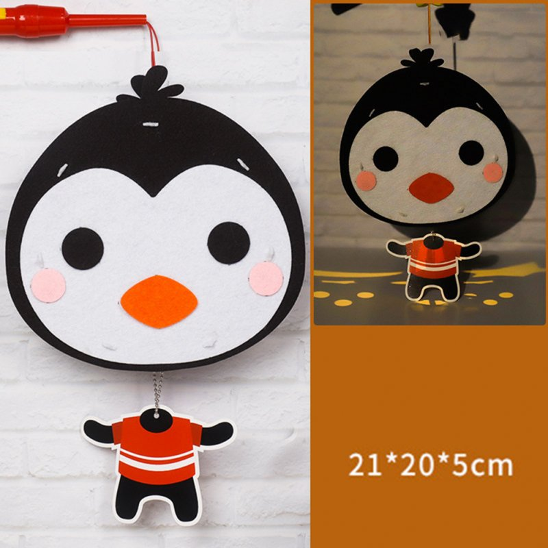 Kids  Handmade  Cartoon Luminous Lantern Diy Portable Puzzle Toy Little Penguin_The New