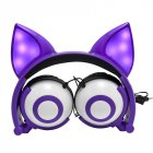 Kids Headphones Wired Stereo Over Ear Noise Isolating Cat Ear LED Light Headphones for iPad Cell Phones PC Tablet  purple