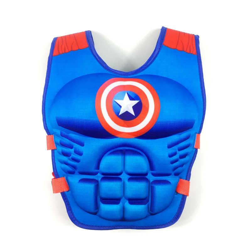 Kids Life Jacket Floating Vest Children Boy Swimsuit Sunscreen Floating Power swimming pool accessories ring Drifting Boating Captain America-M