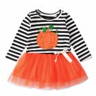 Kids Long Sleeves Strips Decor Tulle Girl Dresses Cute Halloween Pumpkin Girls Dress  Orange CC01647_90 yards
