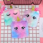 Kids Plush Single Horned Horse Satchel Portable Cartoon Coin Purse Random random
