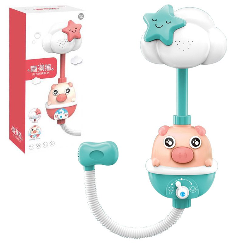 Kids Shower BathToys Cute Baby Faucet Bathing Water Spray Tool Dabbling Toy Green (color box)