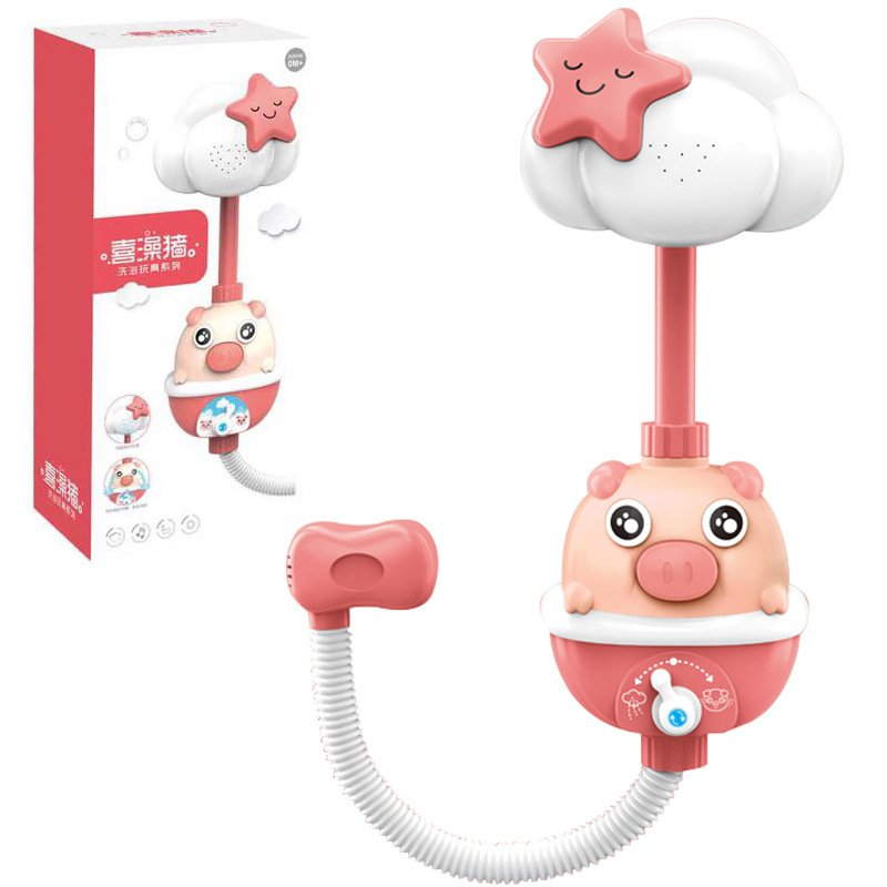 Kids Shower BathToys Cute Baby Faucet Bathing Water Spray Tool Dabbling Toy Red (color box)