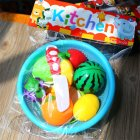 Kids Simulate Fruits Vegetables Cutting Set with Basket Play House Puzzle Toy