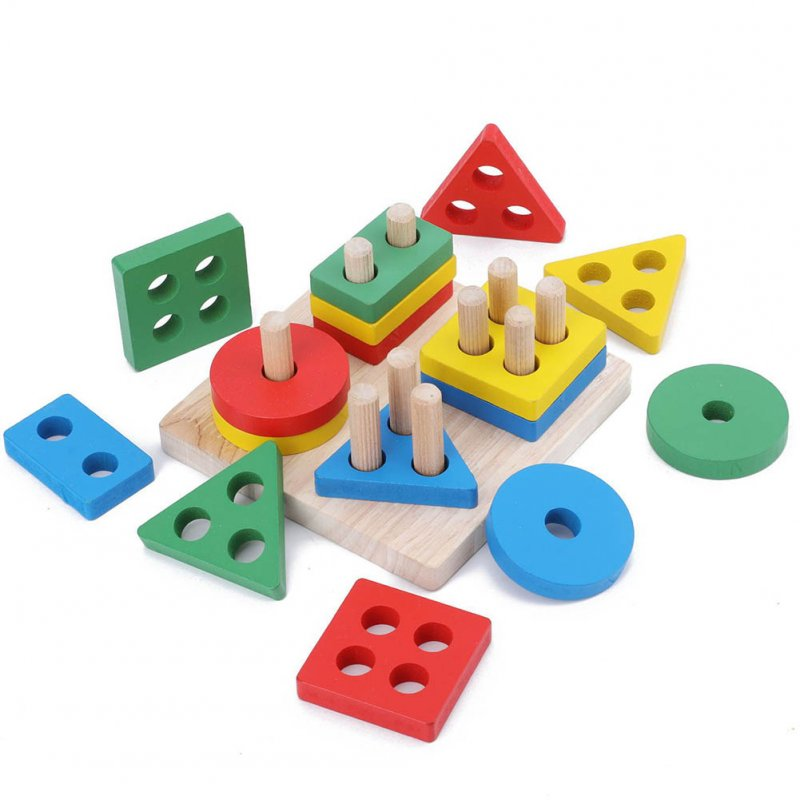 Kids  Wooden  Early  Education  Sets  Pillars Intelligence Color Geometric Shape Cognitive Toys #1