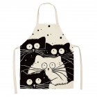 Kitchen Cartoon Apron Cute Comic Cat Printed Cotton Linen Cooking Pinafore Home Daidle Daily Housework Anti-Stain Baking Apron 68x55cm_WQ0029-5