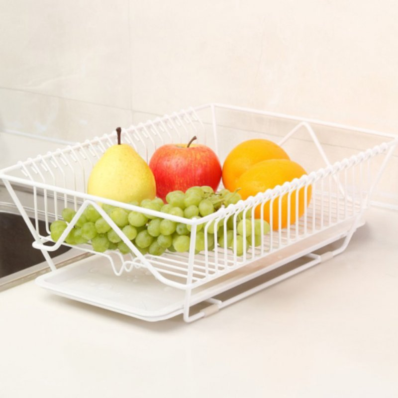 Kitchen Tableware Drain Bowl Rack Large Capacity Dish Drain Basket White
